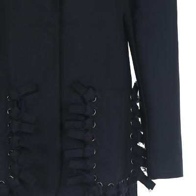 unique eyelet detail jacket black